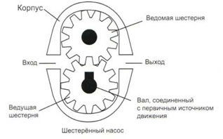 Элементы шестеренного насоса.